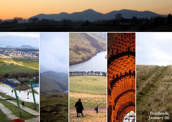 Sunset on the Pentland Hills from Roslin; Hillend ski slope facing Edinburgh and Arthur's seat; Glencorse reservoir; Rosslyn chapel; Pentland ridge